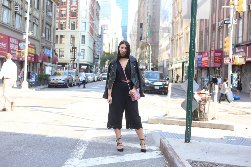 Tobi Black Cropped Pants & Top Set - New York Fashion Week - Gigi New York - Sam Edelman