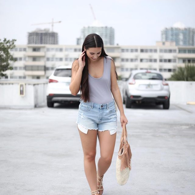 My Miami summer style Distressed shorts a body suit andhellip