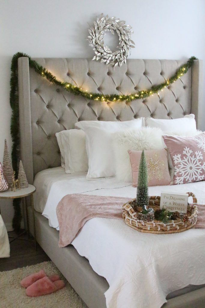 Blush Holiday Bedroom Decor- Holiday Home Decor - BisousBrittany - Bisous, Brittany